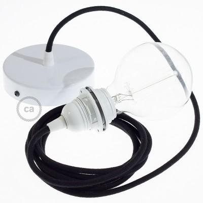 Lampe suspension pour Abat-jour câble textile Coton Noir RC04