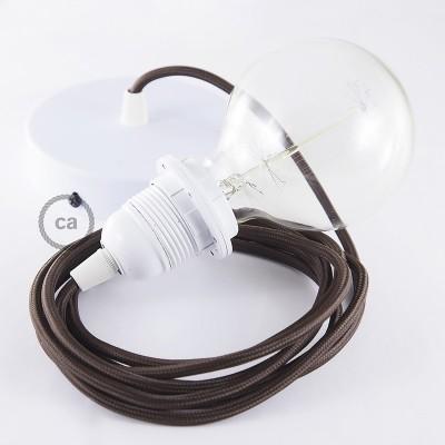 Lampe suspension pour Abat-jour câble textile Effet Soie Marron RM13