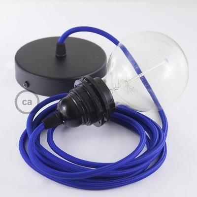 Verlichtingspendel E27 geschikt voor lampenkap. Hanglamp met blauw viscose textielkabel – RM12