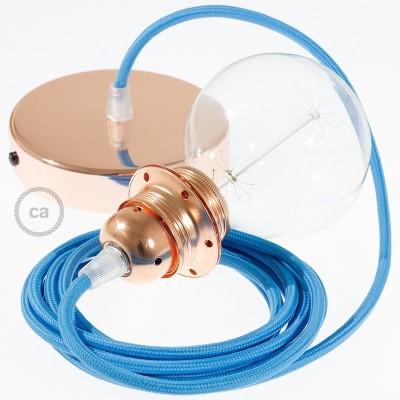 Lampe suspension pour Abat-jour câble textile Effet Soie Turquoise RM11
