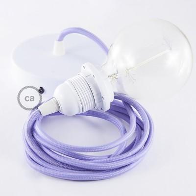 Lampe suspension pour Abat-jour câble textile Effet Soie Lilas RM07