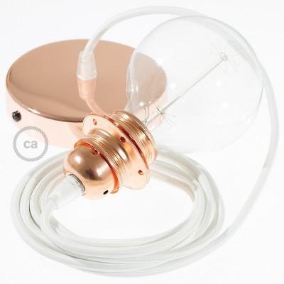Lampe suspension pour Abat-jour câble textile Effet Soie Blanc RM01
