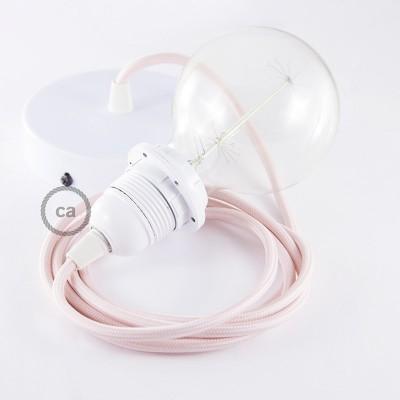 Lampe suspension pour Abat-jour câble textile Effet Soie Rose Baby RM16