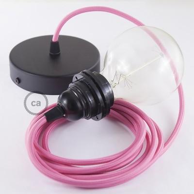 Lampe suspension pour Abat-jour câble textile Effet Soie Fuchsia RM08
