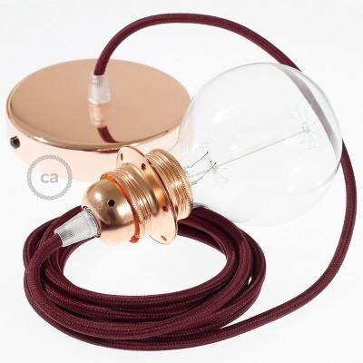 Lampe suspension pour Abat-jour câble textile Effet Soie Bordeaux RM19