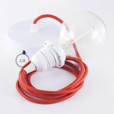 Lampe suspension pour Abat-jour câble textile Effet Soie Rouge RM09