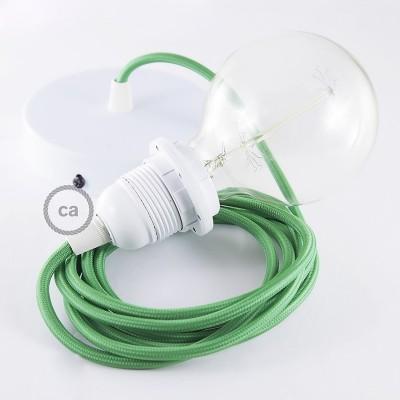 Lampe suspension pour Abat-jour câble textile Effet Soie Vert RM06