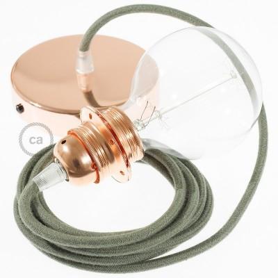 Lampe suspension pour Abat-jour câble textile Coton Gris Vert RC63
