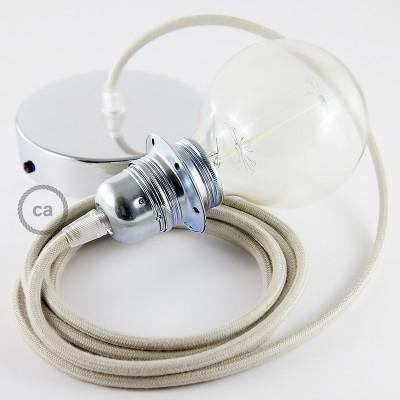 Lampe suspension pour Abat-jour câble textile Coton Tourterelle RC43
