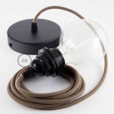 Lampe suspension pour Abat-jour câble textile Coton Marron RC13