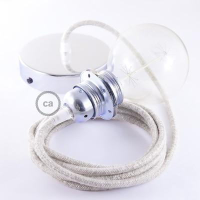Lampe suspension pour Abat-jour câble textile Lin Naturel Neutre RN01