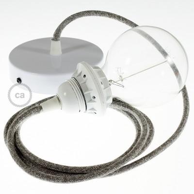 Lampe suspension pour Abat-jour câble textile Lin Naturel Gris RN02
