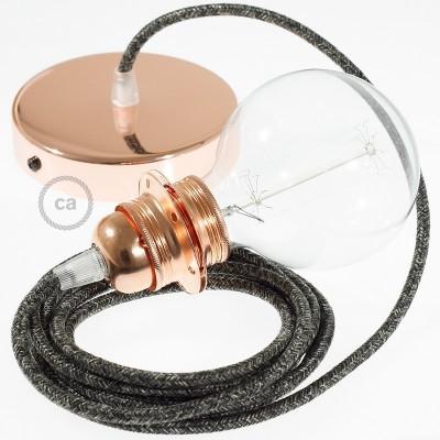 Lampe suspension pour Abat-jour câble textile Lin Naturel Anthracite RN03