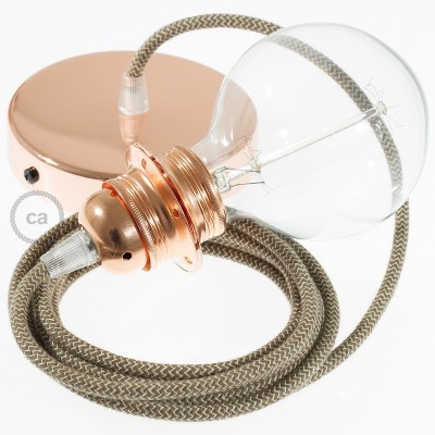Lampe suspension pour Abat-jour câble textile ZigZag Écorce RD73