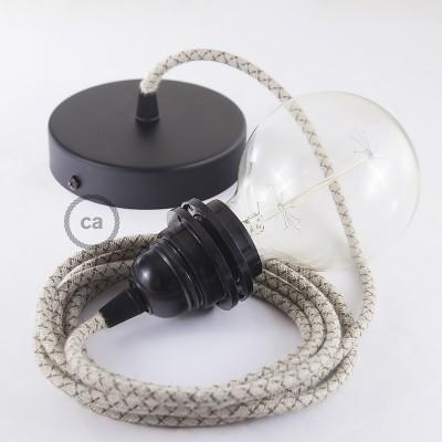 Lampe suspension pour Abat-jour câble textile Losange Écorce RD63