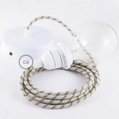 Lampe suspension pour Abat-jour câble textile Stripes Écorce RD53