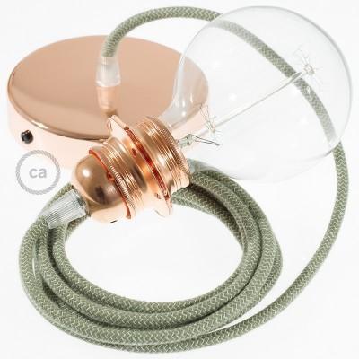 Lampe suspension pour Abat-jour câble textile ZigZag Vert Thym RD72