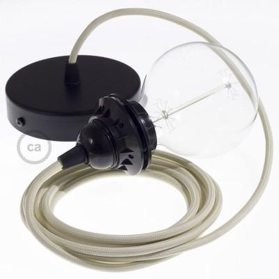Lampe suspension pour Abat-jour câble textile Effet Soie Ivoire RM00