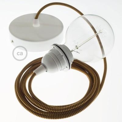 Lampe suspension pour Abat-jour câble textile Effet Soie ZigZag Or et Bordeaux RZ23