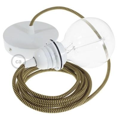 Lampe suspension pour Abat-jour câble textile Effet Soie ZigZag Or et Noir RZ24