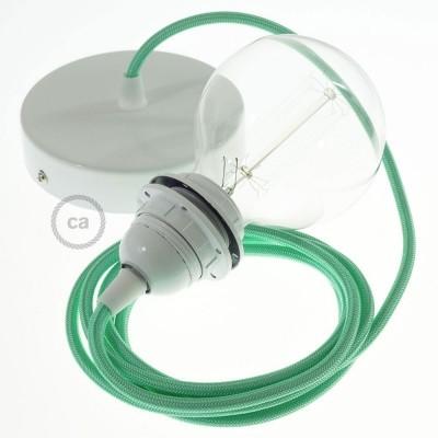 Lampe suspension pour Abat-jour câble textile Effet Soie Opal RH69