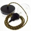 Lampe suspension pour Abat-jour câble textile Coton Bicolore Miel Doré and Anthracite RP27