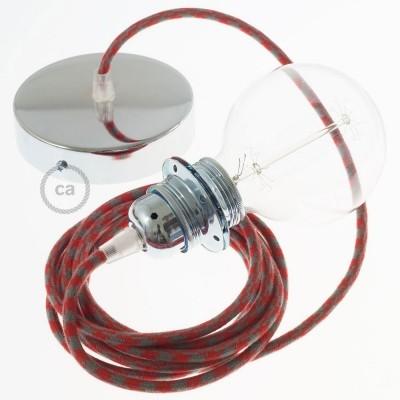 Lampe suspension pour Abat-jour câble textile Coton Bicolore Rouge Feu et Gris RP28