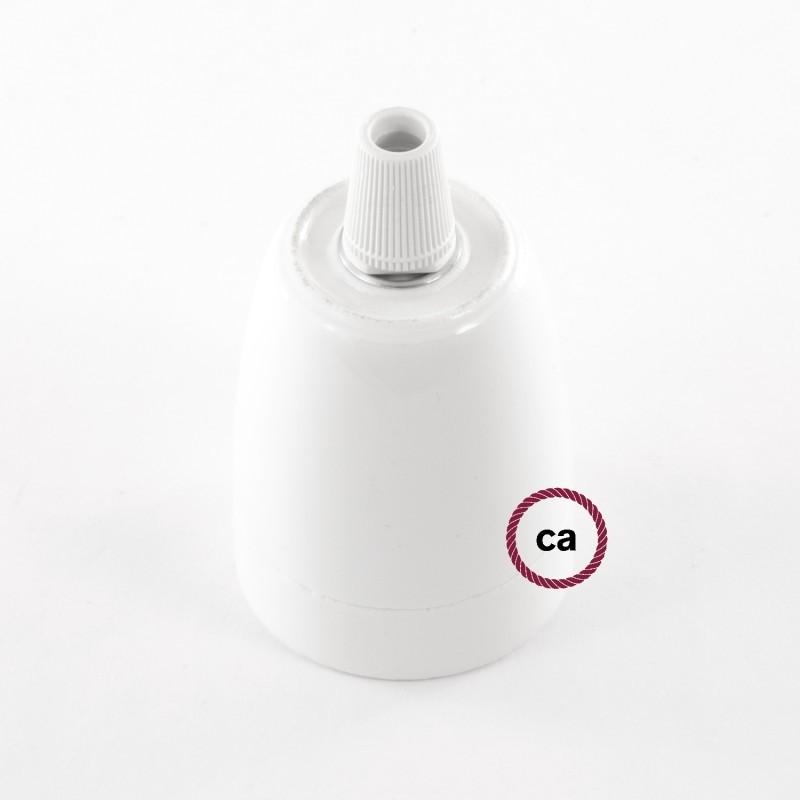 Lampe suspension en porcelaine câble textile Effet Soie Bleu Marine RM20
