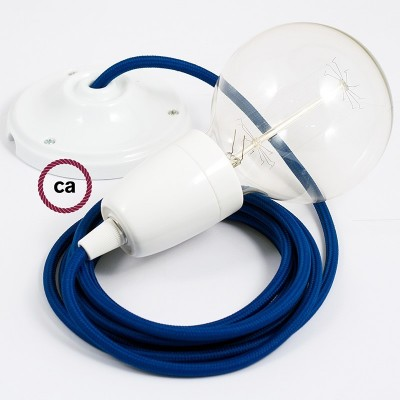 Lampe suspension en porcelaine câble textile Effet Soie Bleu RM12