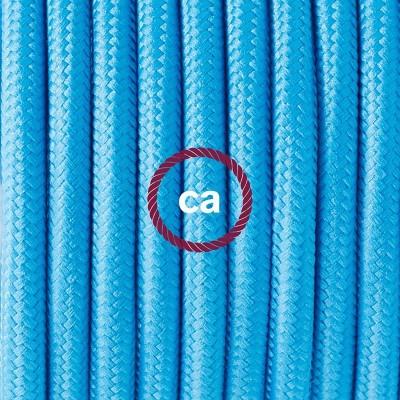 Lampe suspension en porcelaine câble textile Effet Soie Turquoise RM11