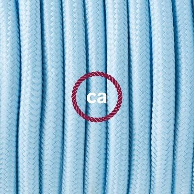Lampe suspension en porcelaine câble textile Effet Soie Bleu Azur Baby RM17