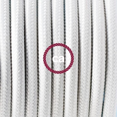 Lampe suspension en porcelaine câble textile Effet Soie Blanc RM01