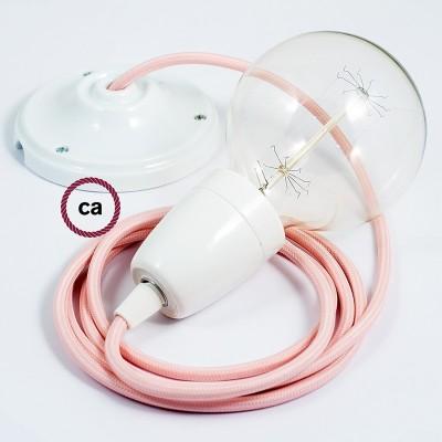 Lampe suspension en porcelaine câble textile Effet Soie Rose Baby RM16