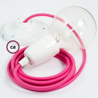 Lampe suspension en porcelaine câble textile Effet Soie Fuchsia RM08
