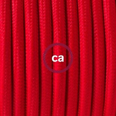 Lampe suspension en porcelaine câble textile Effet Soie Rouge RM09