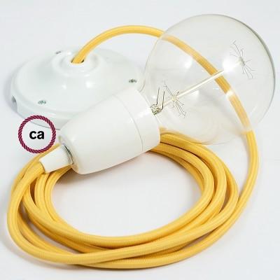 Lampe suspension en porcelaine câble textile Effet Soie Jaune RM10
