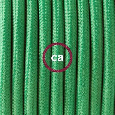 Lampe suspension en porcelaine câble textile Effet Soie Vert RM06