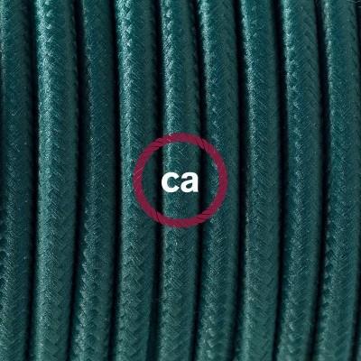 Lampe suspension en porcelaine câble textile Effet Soie Vert Foncé RM21