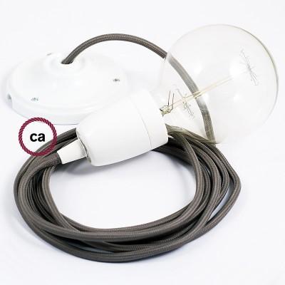 Lampe suspension en porcelaine câble textile Effet Soie Gris RM03