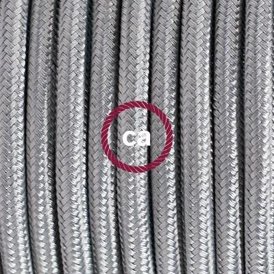Lampe suspension en porcelaine câble textile Effet Soie Argent RM02