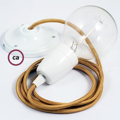 Lampe suspension en porcelaine câble textile Effet Soie Or RM05