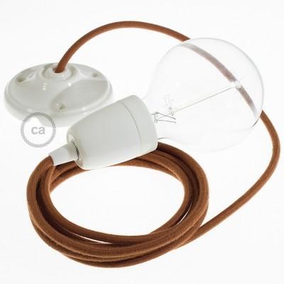 Lampe suspension en porcelaine câble textile Coton Daim RC23