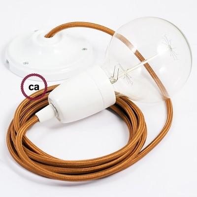 Lampe suspension en porcelaine câble textile Effet Soie Whiskey RM22