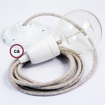 Lampe suspension en porcelaine câble textile Lin Naturel Neutre RN01