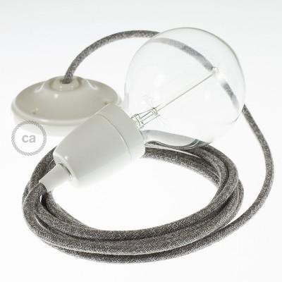 Lampe suspension en porcelaine câble textile Lin Naturel Gris RN02