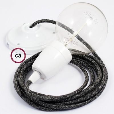 Lampe suspension en porcelaine câble textile Lin Naturel Anthracite RN03