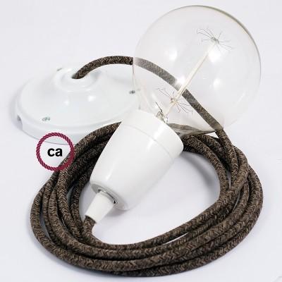 Lampe suspension en porcelaine câble textile Lin Naturel Marron RN04