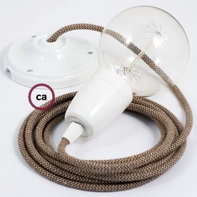 Lampe suspension en porcelaine câble textile ZigZag Écorce RD73