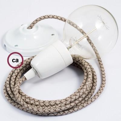 Lampe suspension en porcelaine câble textile Losange Écorce RD63
