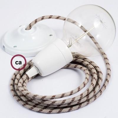 Lampe suspension en porcelaine câble textile Stripes Écorce RD53